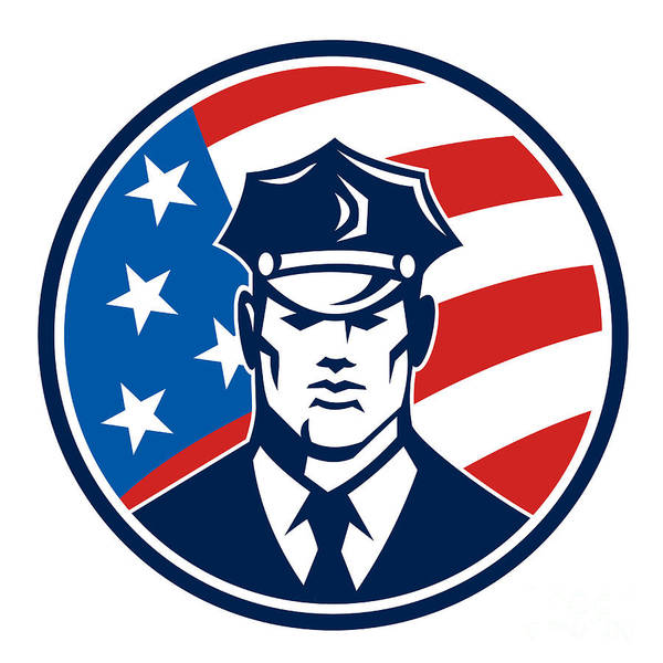 Policeman Poster featuring the digital art American Policeman Security Guard Retro by Aloysius Patrimonio
