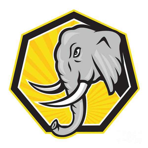 Elephant Poster featuring the digital art Angry Elephant Head Side Cartoon by Aloysius Patrimonio