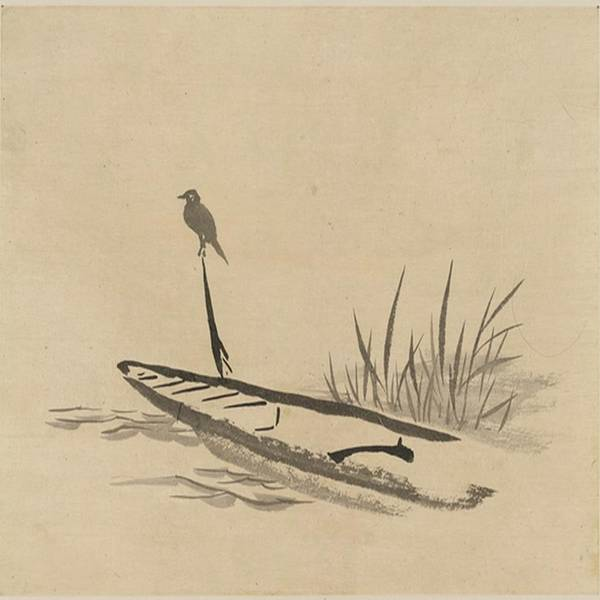 Asian Poster featuring the painting Asian Bird N Boat by Florene Welebny