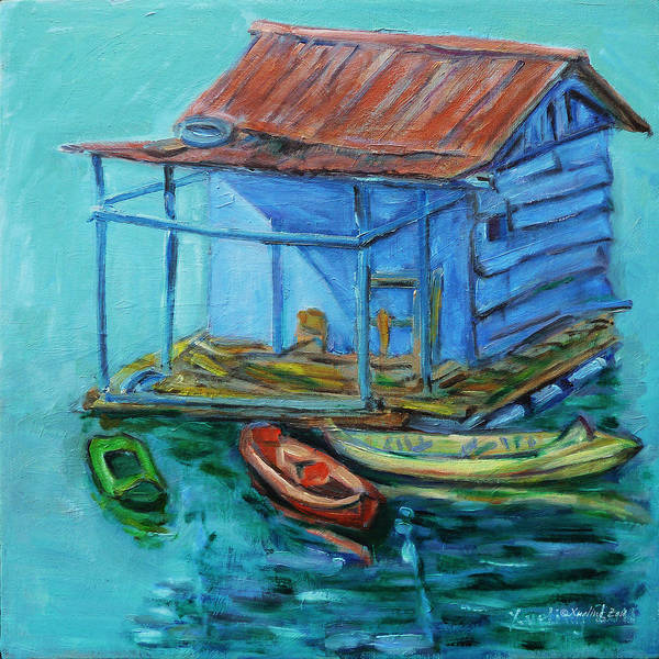Landscape Poster featuring the painting At Boat House by Xueling Zou