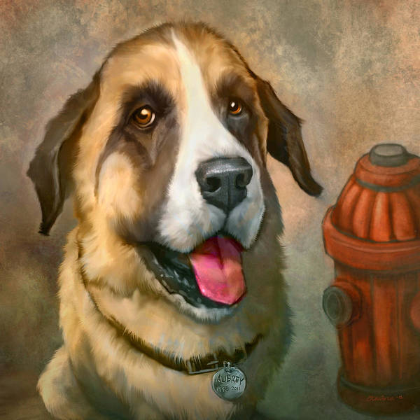 Dog Poster featuring the painting Aubrey by Sean ODaniels