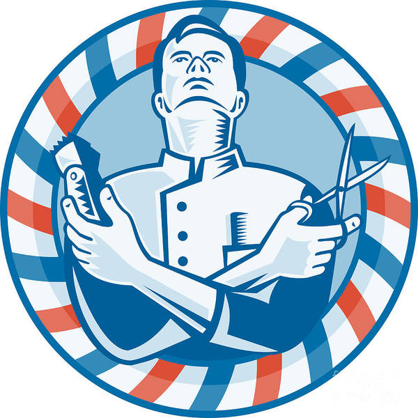 Barber Poster featuring the digital art Barber With Clipper Hair Cutter And Scissors by Aloysius Patrimonio