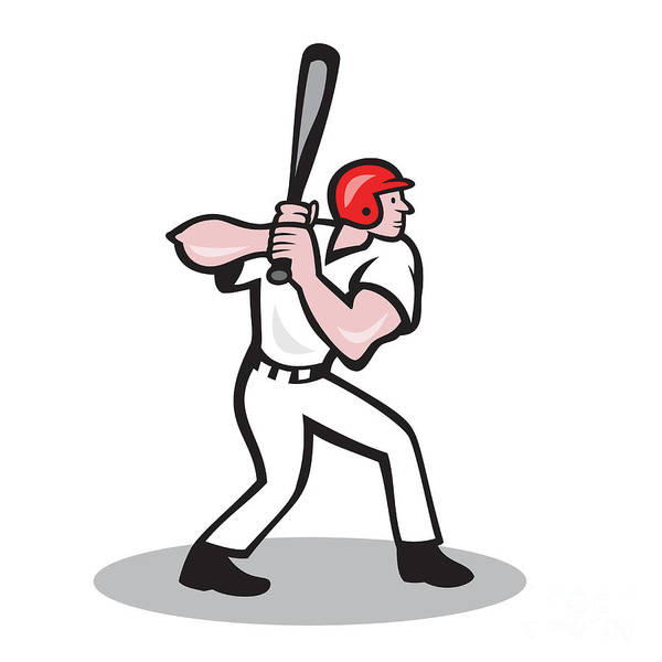 Baseball Poster featuring the digital art Baseball Player Batting Side Cartoon by Aloysius Patrimonio