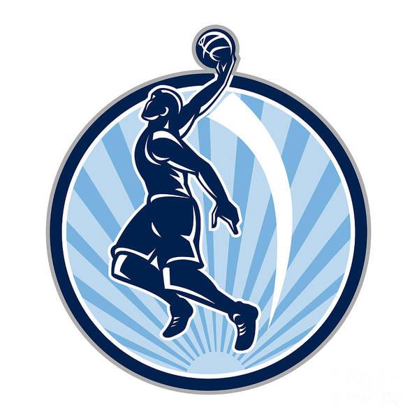 Basketball Poster featuring the digital art Basketball Player Dunk Ball Retro by Aloysius Patrimonio