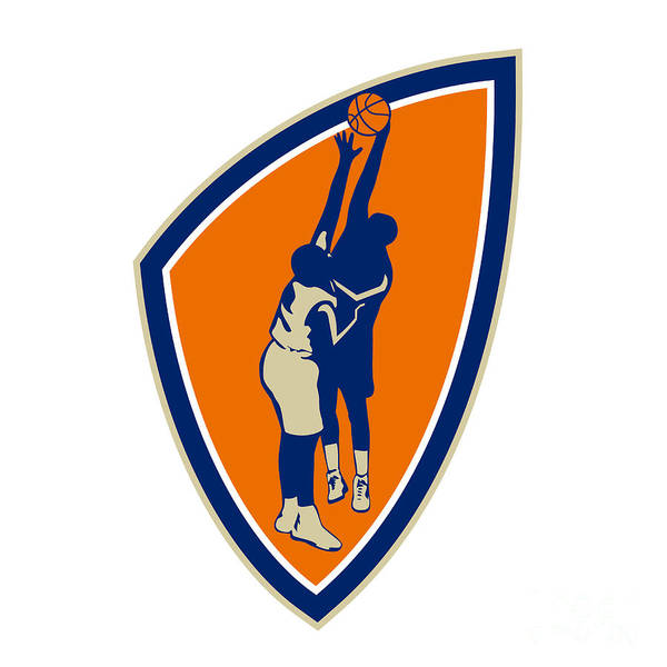 Basketball Poster featuring the digital art Basketball Player Dunk Block Ball Shield Retro by Aloysius Patrimonio