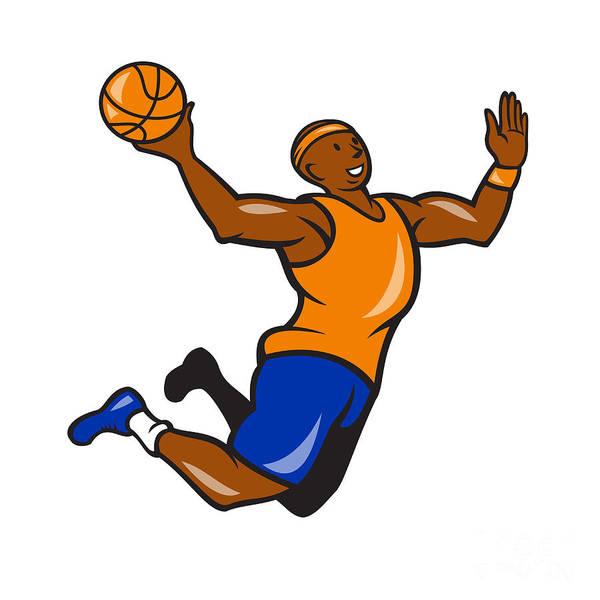 Basketball Poster featuring the digital art Basketball Player Dunking Ball Cartoon by Aloysius Patrimonio