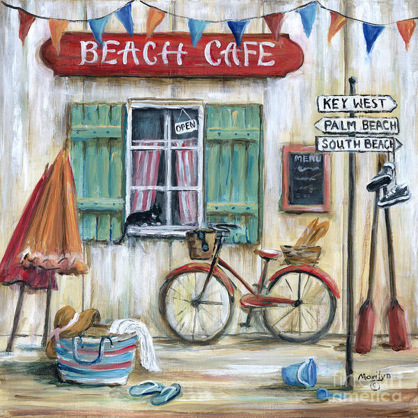 Beach Cafe Poster featuring the painting Beach Cafe by Marilyn Dunlap