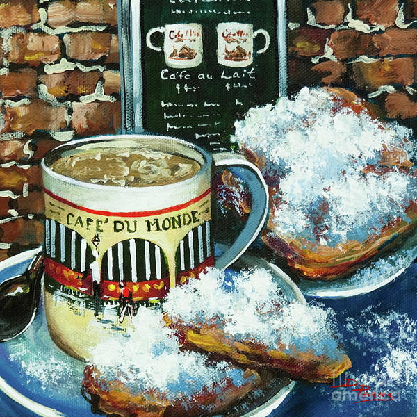New Orleans Art Poster featuring the painting Beignets And Cafe Au Lait by Dianne Parks