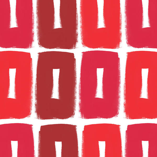 Red Abstract Art Poster featuring the painting Berry Boxes- Contemporary Abstract Art by Linda Woods