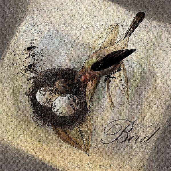 Bird Poster featuring the digital art Bird Nest - Sp11ac02 by Variance Collections