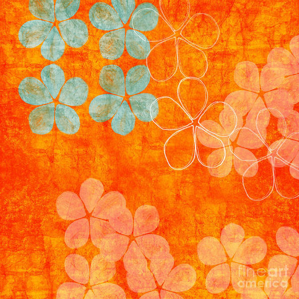 Abstract Poster featuring the painting Blue Blossom On Orange by Linda Woods