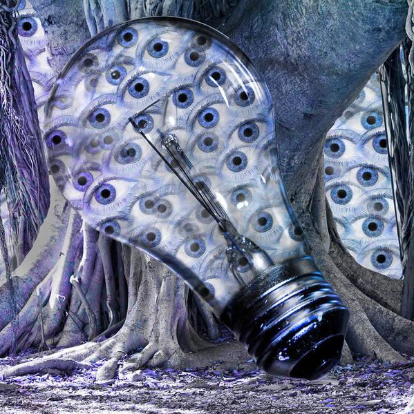 Lightbulb Poster featuring the digital art Blue Eyes by Betsy Knapp
