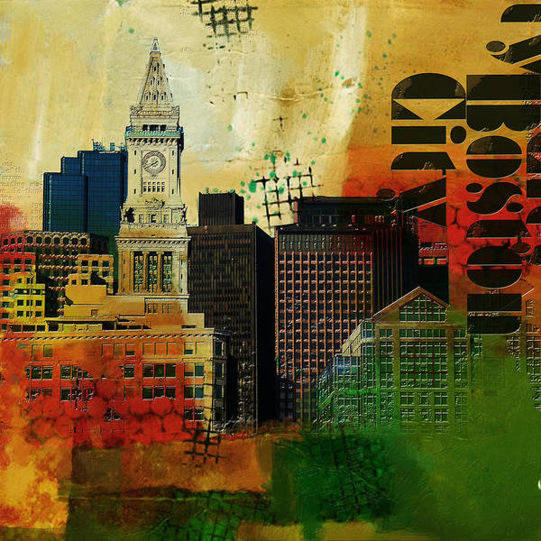 Boston City Poster featuring the painting Boston City Collage 2 by Corporate Art Task Force