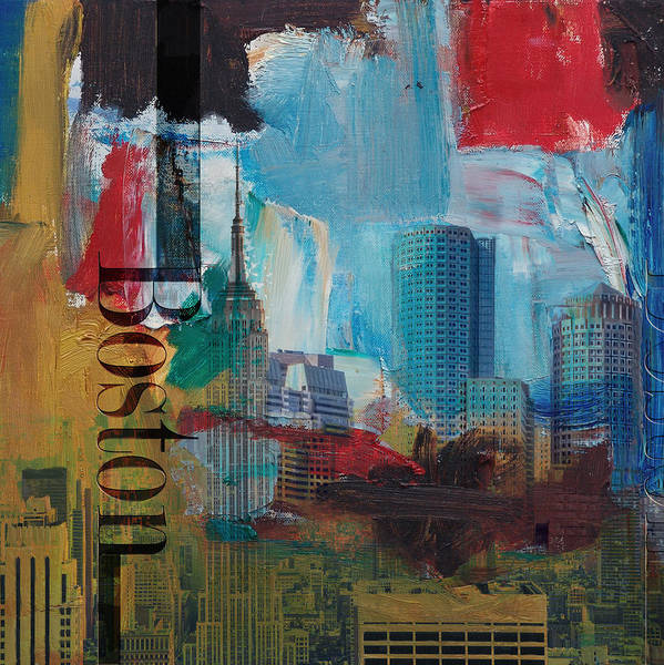 Boston City Poster featuring the painting Boston City Collage 3 by Corporate Art Task Force