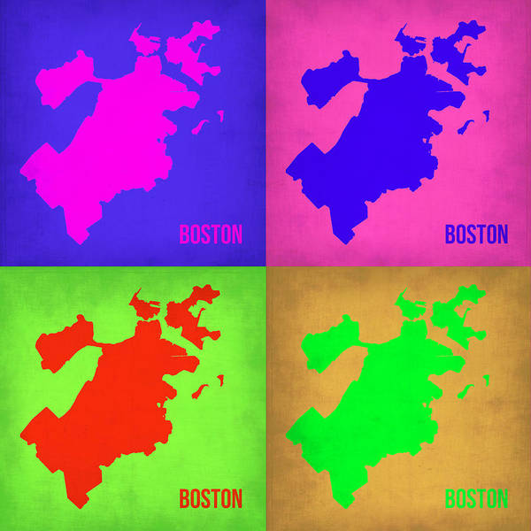 Boston Map Poster featuring the painting Boston Pop Art Map 1 by Naxart Studio