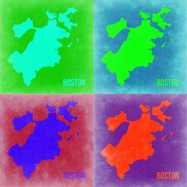 Boston Map Poster featuring the painting Boston Pop Art Map 2 by Naxart Studio