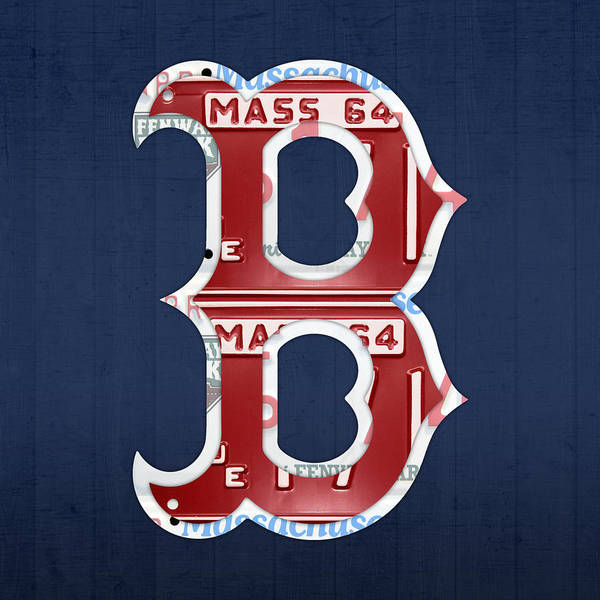 Boston Poster featuring the mixed media Boston Red Sox Logo Letter B Baseball Team Vintage License Plate Art by Design Turnpike