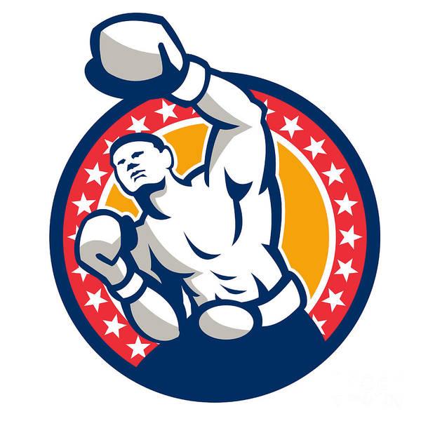 Boxer Poster featuring the digital art Boxer Boxing Punching Jabbing Retro by Aloysius Patrimonio