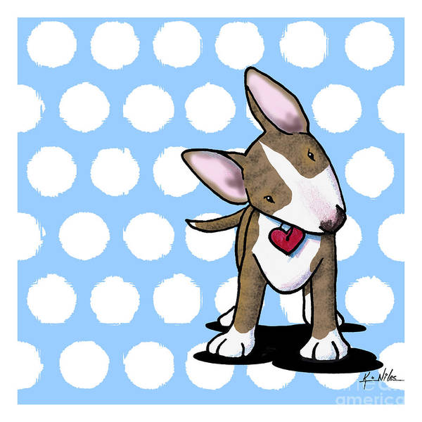Brindle Bull Terrier Poster featuring the digital art Brindle Bully On Dotted Blue by Kim Niles