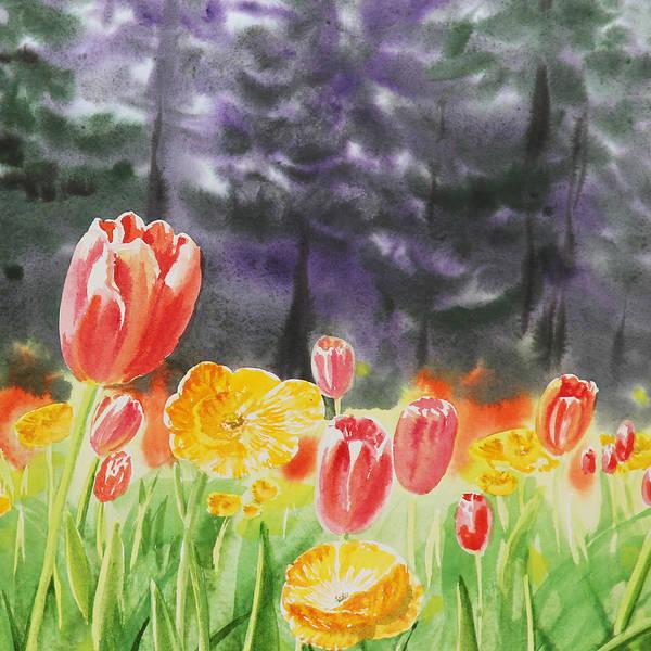 Tulip Poster featuring the painting Bunch Of Tulips I by Irina Sztukowski