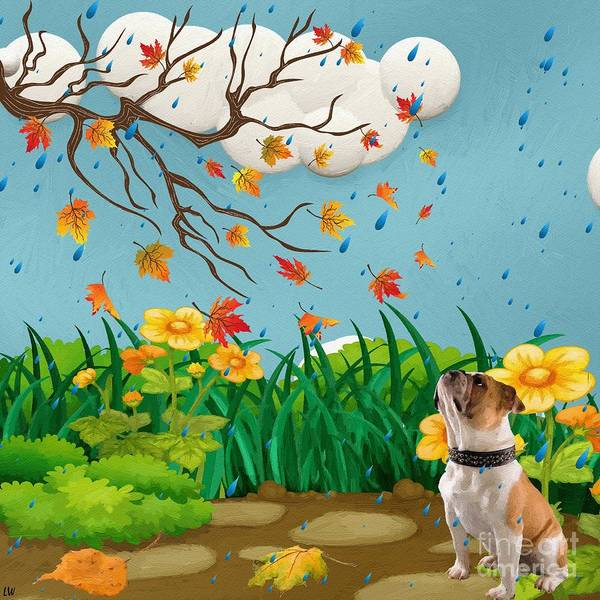 Liane Wright Poster featuring the painting Buster And The Tree by Liane Wright