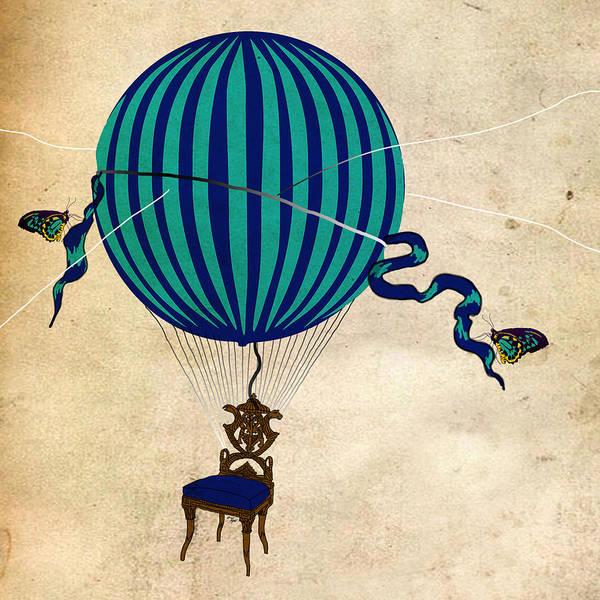 Hot Air Balloon Art Poster featuring the digital art Butterfly by JRyan Artist