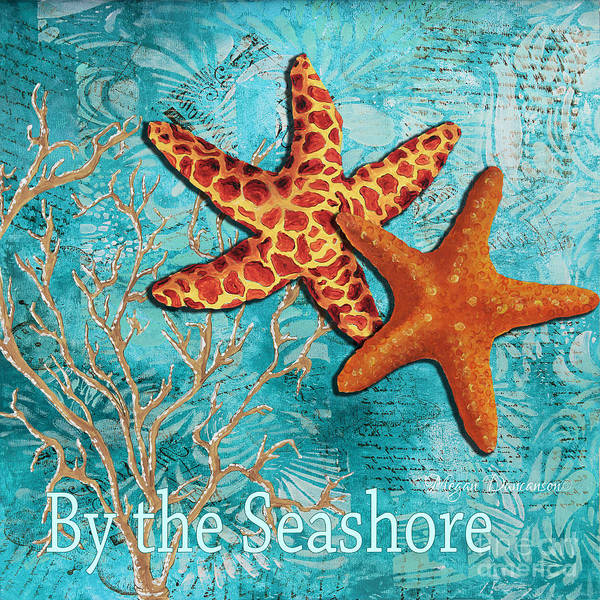Starfish Poster featuring the painting By The Sea Shore Original Coastal Painting Colorful Starfish Art By Megan Duncanson by Megan Duncanson