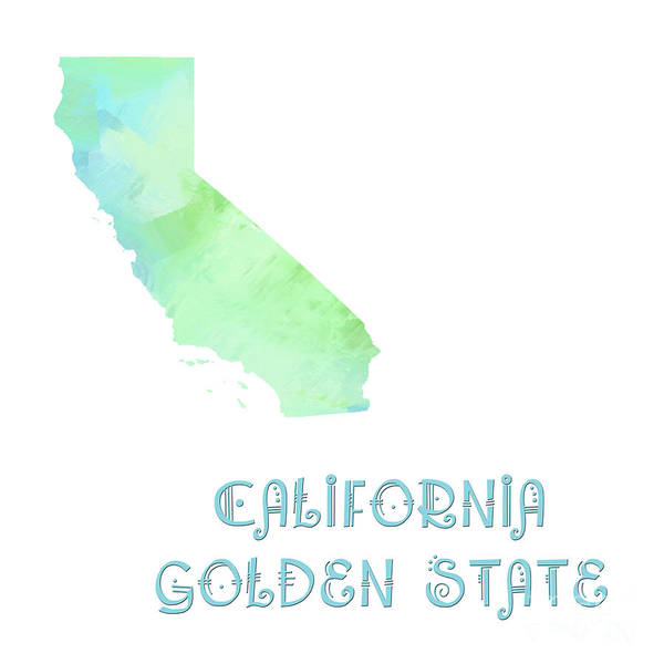 Andee Design Poster featuring the digital art California - Golden State - Map - State Phrase - Geology by Andee Design