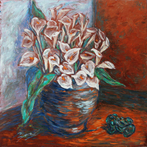 Zantedeschia Genus Poster featuring the painting Calla Lilies And Frog by Xueling Zou
