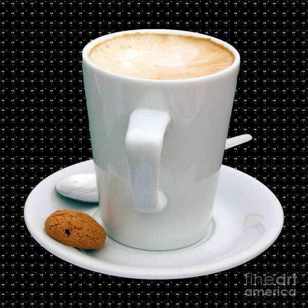 Cappucino Poster featuring the photograph Cappuccino With An Amaretti Biscuit by Terri Waters
