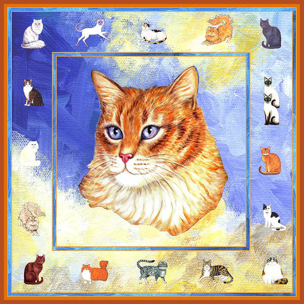 Cat Poster featuring the painting Cats Purrfection Five - Orange Tabby by Linda Mears