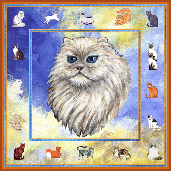 Persian Cat Poster featuring the painting Cats Purrfection Four - Persian by Linda Mears