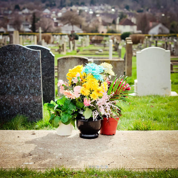 Blue Poster featuring the photograph Cemetery Flowers by Tom Gowanlock