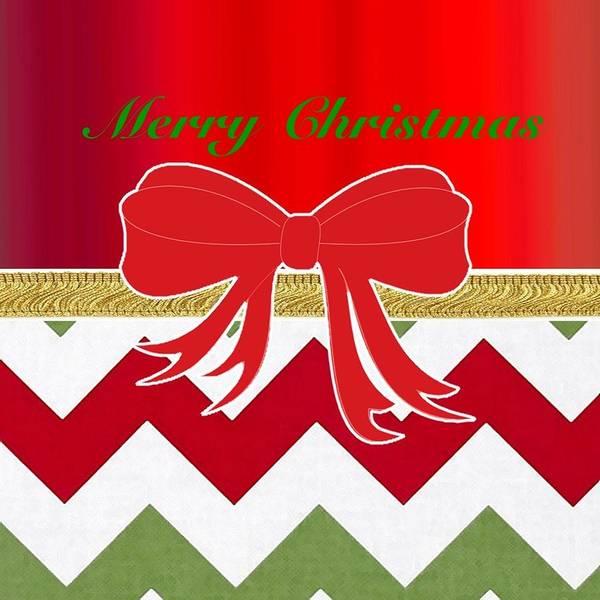 Christmas Poster featuring the digital art Chevron Christmas by Florene Welebny