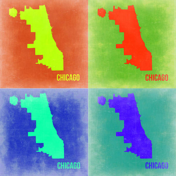Chicago Map Poster featuring the painting Chicago Pop Art Map 2 by Naxart Studio