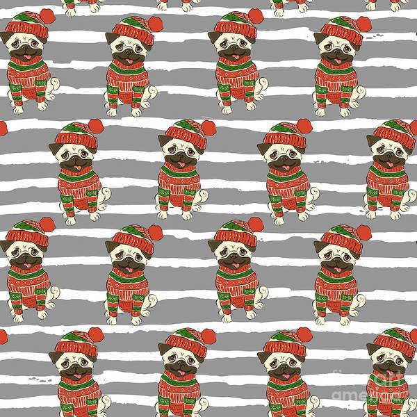 Pug Poster featuring the digital art Christmas Holidays Seamless Vector by Nikolaeva