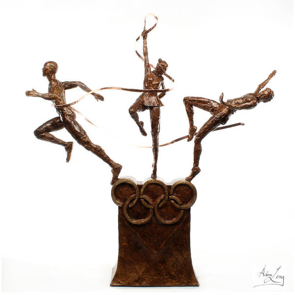 Olympic Poster featuring the sculpture Citius Altius Fortius Oympic Art On White by Adam Long