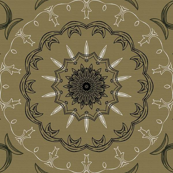 Intricate Poster featuring the digital art Coffee Flowers 3 Olive Ornate Medallion by Angelina Vick
