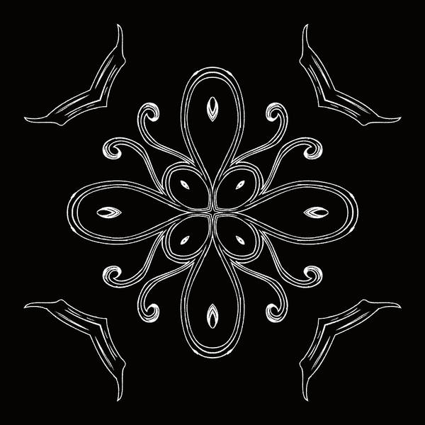 Intricate Poster featuring the digital art Coffee Flowers 4 Bw Ornate Medallion by Angelina Vick