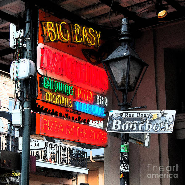 Travelpixpro New Orleans Poster featuring the photograph Colorful Neon Sign On Bourbon Street Corner French Quarter New Orleans Fresco Digital Art by Shawn O'Brien