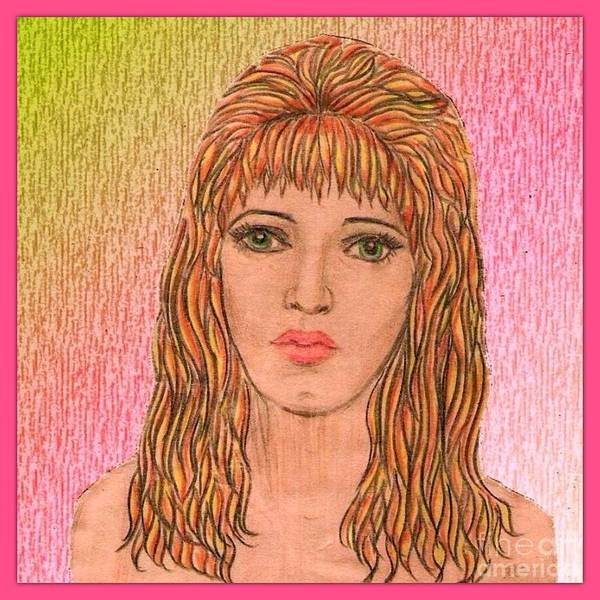 Self Portrait Poster featuring the drawing Coloured Pencil Self Portrait by Joan-Violet Stretch