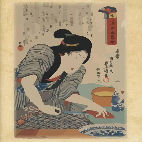 Asian Poster featuring the painting Cooking Fish by Florene Welebny