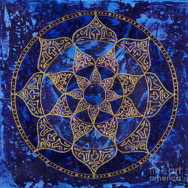 Mandala Poster featuring the painting Cosmic Blue Lotus by Charlotte Backman