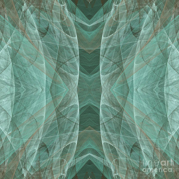 Abstract Poster featuring the digital art Crashing Waves Of Green 4 - Square - Abstract - Fractal Art by Andee Design
