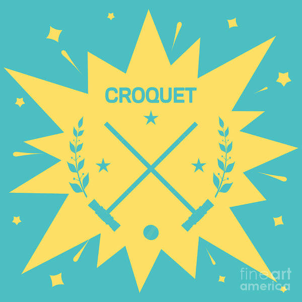 Play Poster featuring the digital art Croquet. Vintage Background With Clubs by Vectorok