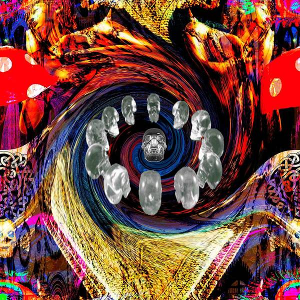 <a> Abstract Poster featuring the digital art Crystal Skulls by Jason Saunders
