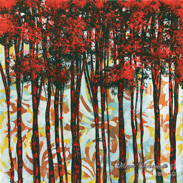 Contemporary Poster featuring the painting Decorative Abstract Floral Bird Landscape Painting Forest Of Dreams II By Megan Duncanson by Megan Duncanson