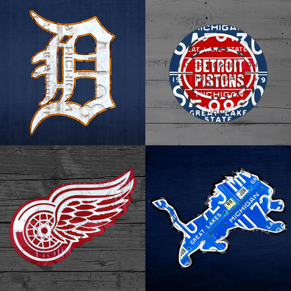 Detroit Poster featuring the mixed media Detroit Sports Fan Recycled Vintage Michigan License Plate Art Tigers Pistons Red Wings Lions by Design Turnpike