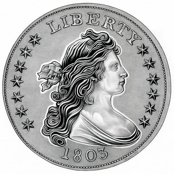 Draped Bust Liberty Dollar Poster featuring the drawing Draped Bust Liberty by Fred Larucci