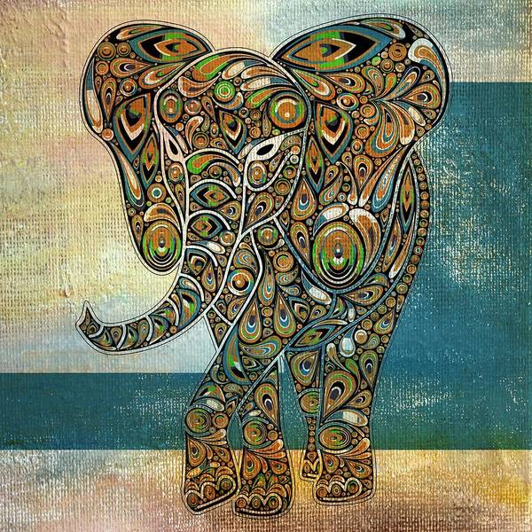 Elephant Poster featuring the digital art Elefantos - 01ac03at03b by Variance Collections